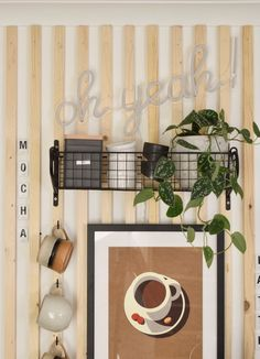 close up diy coffee station cups on hooks and basket shelf with storage canisters and neon wall art Diy Projects On A Budget, Diy Craft Projects, Yellow Cabinets, Pretty Mugs, Basket Shelves, Easy Diy Crafts, Wall Decor, Wall Art, Storage Canisters