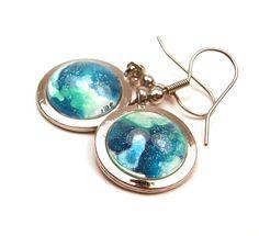 Melted Crayon Earrings OOAK Seafoam Green Ocean Blue Upcycled. $12.00, via Etsy.