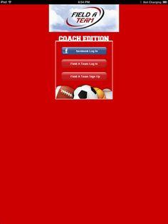 Field A Team Coach - iPad login screen