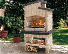 barbecue revêtu de marbre concassé en noir et beige