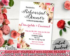 Pink And Red Bohemian Flowers Bridal Shower Theme: Rehearsal Dinner Invitation Editable - editable shower, shower celebration - 06D7T #bridalshower #bride-to-be #bridetobe