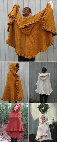 Crochet Poncho easy crochet ruffled shawl free pattern - we have shared this collection of 10 free crochet shawl patterns, each of these pattern comes with a keen sense of style to match the professional standards! Shawl Crochet, Crochet Wrap Pattern, Crochet Ruffle, Crochet Shawls And Wraps, Crochet Jacket, Crochet Scarves, Crochet Clothes, Crochet Sweaters, Free Crochet Poncho Patterns