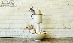 Repurposed Enamelware Bowl & Cup into a Tiered Stand ~~via http://knickoftimeinteriors.blogspot.com/
