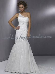 Mermaid One Shoulder Court Train Satin Lace Wedding Dress Buy