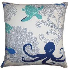 Ondine Coastal Blue White Down Filled Throw Pillow