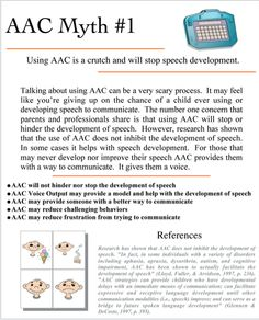 AAC MYTH #1 as explained by Bridget Ames for TheraSimplicity: AAC is a Crutch and Will Stop Speech Development.  NOOOO!