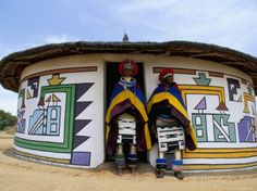Nbelle (Ndbele) Ladies Outside House, Mabhoko (Weltevre) Nbelle Village, South Africa, Africa Photographic Print by Jane Sweeney at AllPosters.com