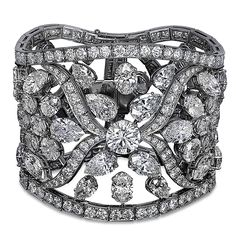 18K Platinum Diamond Bracelet with GIA Certified 73.12ct Mixed Cut Diamonds (57 Stones, D-F Color, IF-VS Clarity) and 20.09 Round Cut Diamonds.