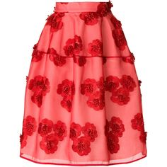 P.A.R.O.S.H. floral-embroidered skirt (788 CAD) ❤ liked on Polyvore featuring skirts, red, high rise skirt, high-waisted skirt, high-waist skirt, knee high skirts and knee length skirts