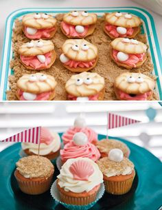 Pink & Teal Beach Themed Birthday Party. Those are the cutest cookie clams I've ever seen.