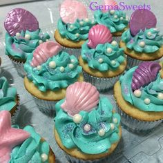 Super Baby Shower Ides For Girs Cupcakes Mermaid Parties Ideas Mermaid Theme Birthday, Little Mermaid Birthday, Little Mermaid Parties, The Little Mermaid, Girl Birthday, Birthday Ideas, Little Mermaid Cupcakes, Sea Cupcakes, Cupcake Cakes