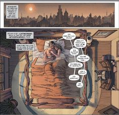 """Bruce Wayne and Selina Kyle having pillow talk in bed in """"The Dark Knight Returns: the Last Crusade"""" by Frank Miller and Brian Azzarello"""