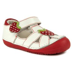 Momo Baby First Walker/Toddler Strawberry White Mary Jane Leather Sandals - 4 M US Toddler Toddler Sandals, Baby Sandals, Baby Girl Shoes, Girls Shoes, Baby Girls, Chloe Fashion, Cheap Running Shoes, Walker Shoes, First Walkers