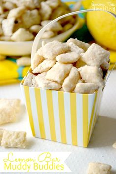 Lemon Bar Muddy Buddies - made with white chocolate & lemon curd. Tastes just like real lemon bars!