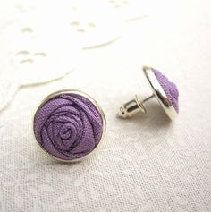 Wisteria Purple Stud Earrings  Simple Fabric by LittleLivingstone, £10.00