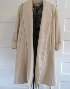 1950s Swing Coat / black alpaca wool dress coat with lantern ...