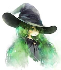 green hair + witch = two of my favorite components for a good character! Kawaii Anime, Moe Anime, Anime Witch, Witch Manga, Anime Halloween, Manga Girl, Anime Girls, Anime Style, Anime Green Hair