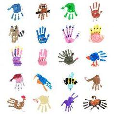 Übersicht von 20 der 38 Handprint-Motiven aus dem Handprints PDF