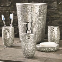 silver Bathroom Decor Magic Bathroom Accessories Collection - these are perfect for adding some texture and sparkle to your bathroom Glitter Bathroom, Bling Bathroom, Silver Bathroom, Bathroom Sets, Bathroom Things, Neutral Bathroom, Bathroom Stuff, Glass Bathroom, Bathroom Vanities