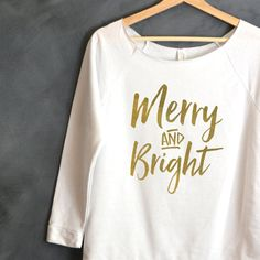Merry And Bright Shirt Christmas shirt by HelloHandpressed on Etsy