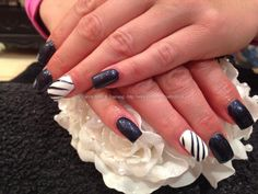 Acrylic nails with blue gelish gel polish ,white gelux gel polish on ring fingers with free hand nail art