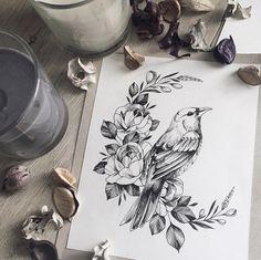 Shop Design Home Decor Purple Flowers Tattoo Irises Code: 3759301054 Pencil Art Drawings, Bird Drawings, Art Drawings Sketches, Tattoo Sketches, Tattoo Drawings, Body Art Tattoos, Sleeve Tattoos, Bird And Flower Tattoo, Flower Tattoo Designs