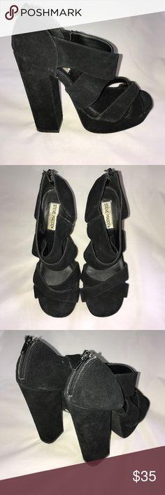 Steve Madden black platform heels 7.5 chunky suede Black suede leather sandals heels from Steve Madden. Platform with block heel. Size US 7.5. Black suede leather. Zipper in back. Style:cadelle Steve Madden Shoes Platforms