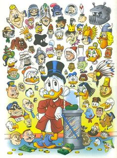 "comicblah: "" The Characters of Carl Barks by Don Rosa "" Art Disney, Disney Duck, Disney Magic, Disney Mickey, Walt Disney Cartoons, Disney Cartoon Characters, Cartoon Crossovers, Don Rosa, Uncle Scrooge"