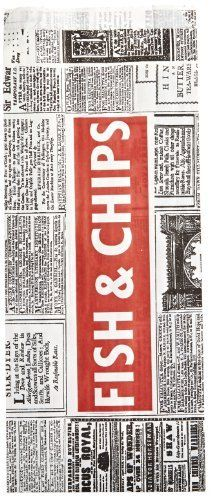 """Bagcraft Papercon 455044 Newspaper Fish and Chips Bag, 614"""" Length x 6"""" Width x 2-1/2"""" Height (Case of 500) by Bagcraft Papercon, http://www.amazon.com/dp/B00C7L4JSO/ref=cm_sw_r_pi_dp_WZEysb0EDEND4"""