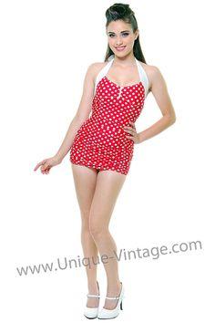LOLITA GIRL 1940's Red And White Polka Dot Halter Swimsuit - S - XXL - Unique Vintage - Prom dresses, retro dresses, retro swimsuits.