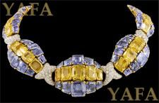DAVID WEBB Diamond, Blue & Yellow Sapphire Necklace