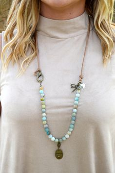 Amazonite Beads and Cotton Cord Necklace with Dragon Fly Charm and Always Pendant