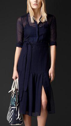 Striped Wool Silk Chiffon Dress   Burberry Prorsum