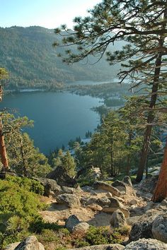 View from above of Lower and Upper Echo Lakes CA. Just minutes from South Lake Tahoe Echo Lakes is the perfect place for a great day hike. Echo Lakes boat shuttle will take you to trails to Desolation Wilderness.