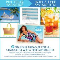 Enter to win 5 swimsuits from swimsuitsforall! Hash Tags, Summertime Drinks, Swimsuits For All, Enter To Win, Pin Image, Paradise, Vacation, Create, Beach