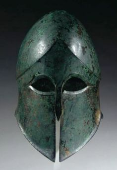 Greek Corinthian bronze helmet, Century B. Helmet Armor, Arm Armor, Ancient Armor, Medieval Armor, Greek Artifacts, Greek Helmet, Corinthian Helmet, Greek Warrior, Ancient Greece