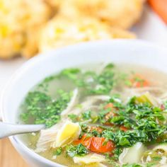 My Mom's Chicken Noodle Soup Recipe Soups with chicken, yellow onion, celery, carrots, parsnips, salt, pepper, egg noodles, water, chopped parsley, all-purpose flour, salt, pepper, baking powder, baking soda, sharp cheddar cheese, scallions, unsalted butter, buttermilk