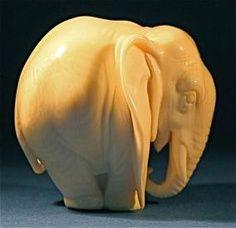 Rare Art Deco carved ivory netsuke of an elephant
