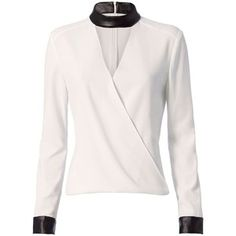 Intermix Women's Strom Leather-Like Detail Blouse