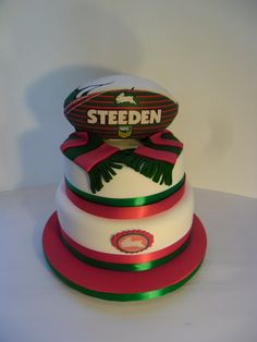 Rabbitohs Cake Auckland $395 caters for 40 dessert or 80 coffee serves (ball bought from a licensed retailer)