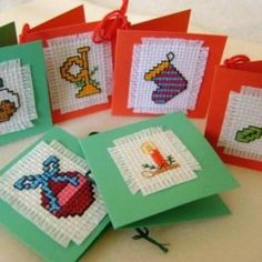 x-stitch christmas gift tags