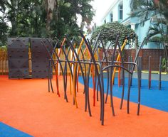 We designed and built the entire playground at the Bangalore Club, Bangalore. Some of the play elements are as follows: #Tower with #Slide #BurmaBridge #WobbleBridge #BalanceBeam #CommandoTraverse #SwingingTraverse #ParentChildSwing #SwingSet #Spiral #Mound wth #Slide and #Tunnel #RopeSpire #CircularTreehouse #MiniMighty (#climbing wall) #MusicWall made of two #Xylophones #ScienceWall #VerticalPipes #HoppingPipes  #FeetOffGround #UnstructuredPlay #PlaygroundDesign #RopesCourse Climbing Wall, Rock Climbing, Children's Playground Equipment, Outdoor Fitness Equipment, Ropes Course, Balance Beam, Playground Design, Music Wall, Outdoor Workouts