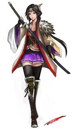 1girl armor black_hair black_legwear frostce full_body headband highres japanese_clothes katana lips long_hair low_ponytail obi ouka_(toukid...