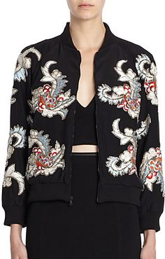 Alice + Olivia Felisa Beaded/Embroidered Silk Bomber Jacket on shopstyle.com