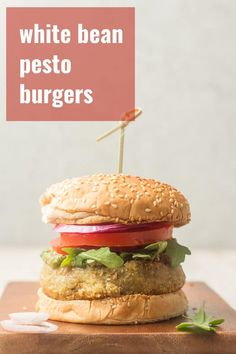 These flavor-packed vegan white bean burgers are made with hearty cannellini beans, crunchy walnuts, and zesty basil pesto. They're easy to make with just a handful of ingredients — perfect for everything from cookouts to weeknight dinners! #veganrecipes #vegandinner #veggieburger Easy Vegan Dinner, Vegan Dinner Recipes, Veg Recipes, Delicious Vegan Recipes, Vegan Dinners, Whole Food Recipes, Summer Recipes, Vegetarian Options