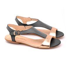 Sandały Cleo X-1236 Czarny+złoty - Noevision - Sandały