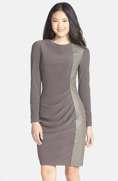 Free shipping and returns on Vince Camuto Faux Leather Panel Ponte Sheath Dress (Regular & Petite) at Nordstrom.com. A sleek faux-leather panel runs down one softly pleated side, bringing modern textural intrigue to a smooth ponte sheath.