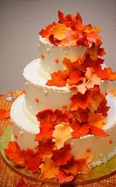A great cake for a DIY bride ... bake the cake ahead of time and freeze ... make the frosting ahead of time and freeze ... and if making the leaves edible, the same thing.  But one could use fresh leaves (lightly dunk in melted wax and shake off excess ... lay on parchment paper to dry and wee balls of the paper to create curves if the leaves try to lie flat).