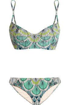 MARA HOFFMAN Feather-print underwired bikini