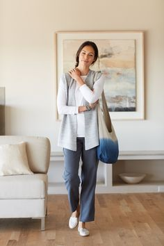 Pure Jill textured sweater vest and the Pure Jill dip-dyed linen bag